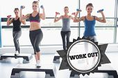 image of step aerobics  - The word work out and four women lifting weights while doing aerobics against badge - JPG