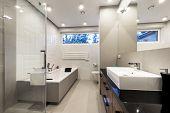 stock photo of bath tub  - Modern luxury bathroom with bath in european style - JPG