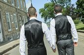 pic of gay wedding  - Portrait of a loving gay male couple on their wedding day - JPG