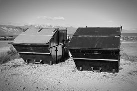 picture of dumpster  - Large waste dumpsters in Snaefellsnes peninsula Iceland - JPG