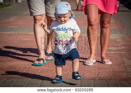 Little boy on a walk