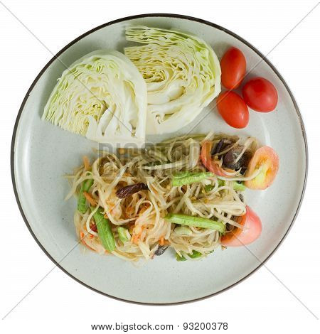 Green Papaya Salad Or Som Tum Isolated On White