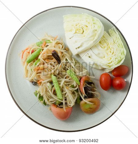 Papaya Salad Or Som Tum Isolated On White Background