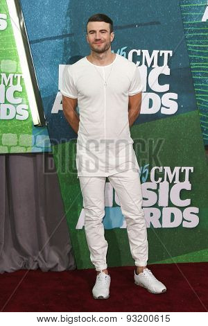 NASHVILLE, TN-JUN 10: Singer Sam Hunt attends the 2015 CMT Music Awards at the Bridgestone Arena on June 10, 2015 in Nashville, Tennessee.