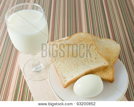 Breakfast Toast With Boiled Eggs And Milk