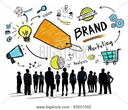 Silhouette Business People Rear View Isolated Brand Concept