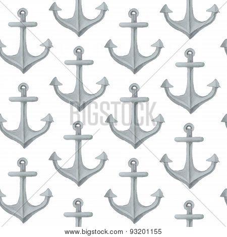 Watercolor nautical seamless pattern