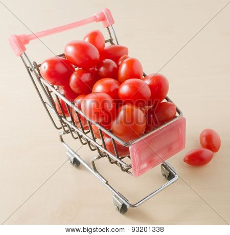 Ripe Grape Tomatoes In A Shopping Cart