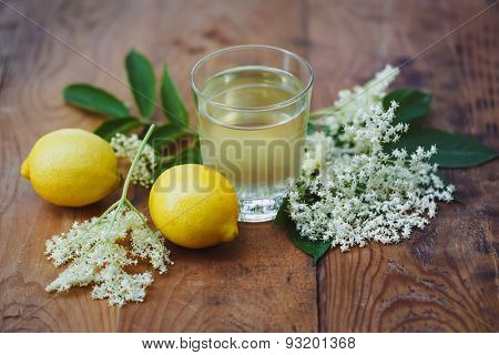 Glass of homemade elderflower cordial