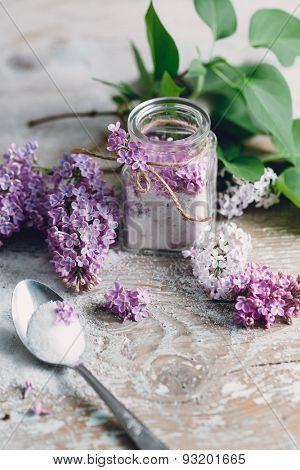 Lilac sugar on the table