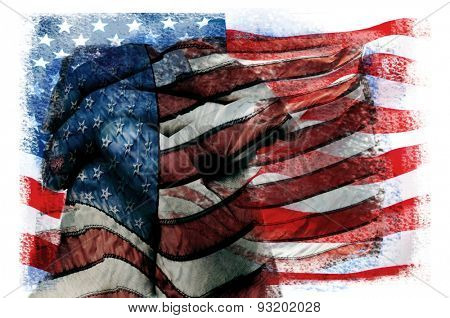 multiple exposures of different pictures of the flag of the United States of America in different patterns