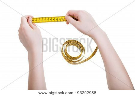 Female Hands With Tailor Measuring Tape Isolated