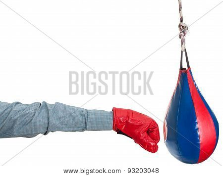 Manager With Boxing Glove Punches Punching Bag