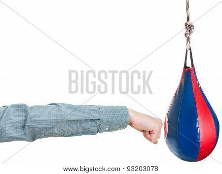 Office Worker Punches Punching Bag Isolated