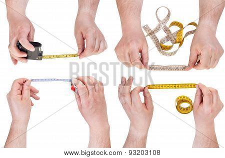 Set Of Male Hands With Measuring Tapes Isolated