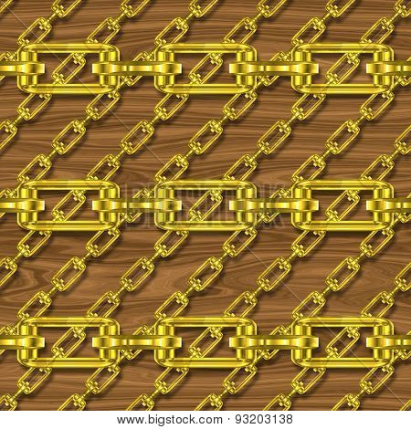 Iron Chains with Seamless Dark Wood Generated Texture