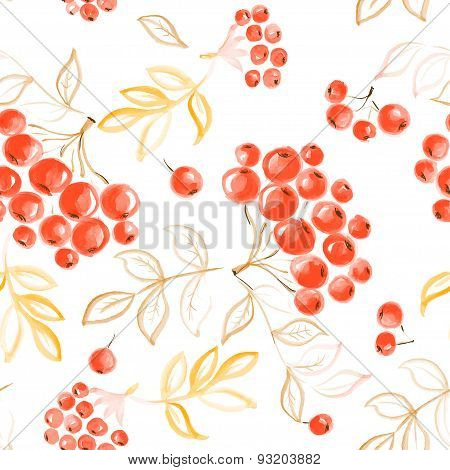 watercolor rowan seamless  pattern. vector illustration for your design