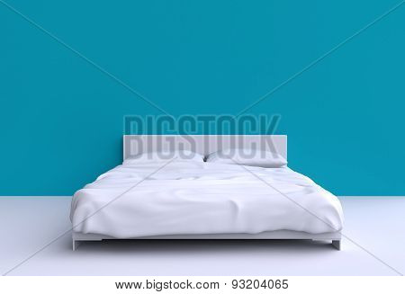 Modern Bed With Two Pillows And A Blanket Against The Wall Of The Room. 3D Illustration.