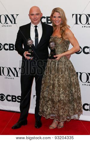 NEW YORK-JUN 7: Actors Michael Cerveris (L) and Kelli O'Hara hold their trophy at the American Theatre Wing's 69th Annual Tony Awards at Radio City Music Hall on June 7, 2015 in New York City.