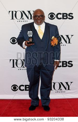 NEW YORK-JUN 7: Corey Mitchell holds the trophy at the American Theatre Wing's 69th Annual Tony Awards at Radio City Music Hall on June 7, 2015 in New York City.
