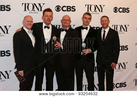 NEW YORK-JUN 7: (L-R) Chris Harper, Simon Stephens, Stuart Thompson, Rufus Norris and Tim Levy hold the trophy at the 69th Annual Tony Awards at Radio City Music Hall on June 7, 2015 in New York City.