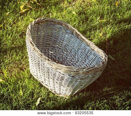 Wicker Basket On The Grass