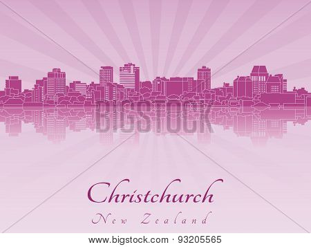 Christchurch Skyline In Purple Radiant Orchid