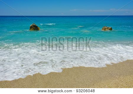 Panoramic view of Megali Petra Beach, Lefkada