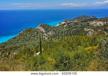 Lefkada island Landscape with forest and Ionian sea
