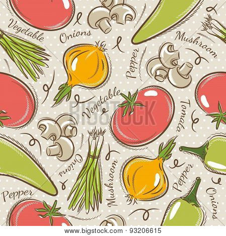 Background With  Tomato, Onions,  Pepper.