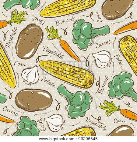 Pattern  With  Broccoli, Corn And Potato.