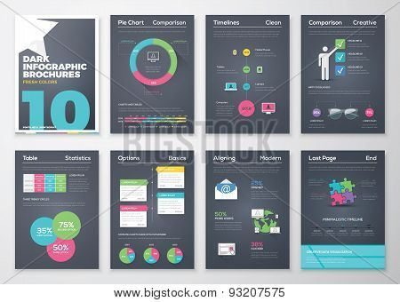 Black background infographic brochures and flat colorful style