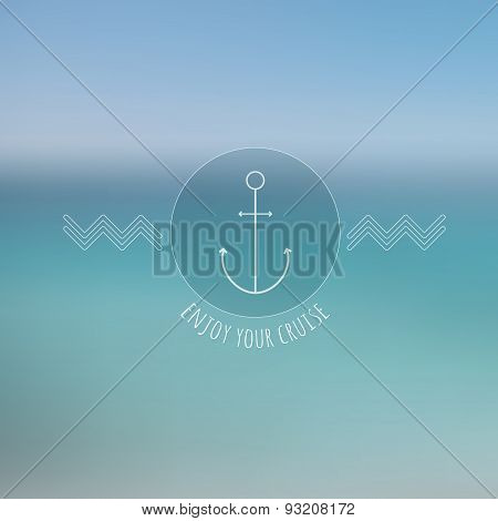 Abstract  blurred background, thin nautical logo.