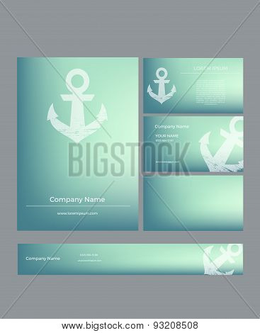 Set of business cards in marine style
