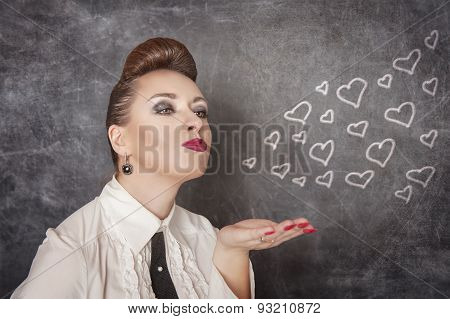 Beautiful Woman Send Drawing Hearts