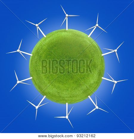 Wind turbines around a green planet symbolizing clean energies.
