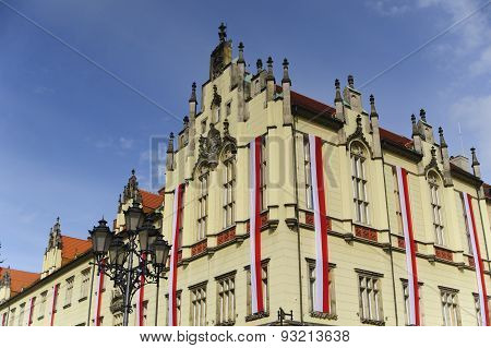 City Council building in Wroclaw with national flags