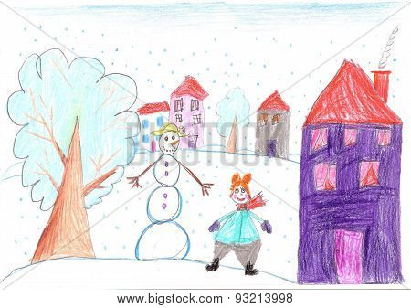 Funny Child Playing Near A Snowman. Child Drawing