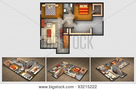Rendered plan and three isometric views of a furnished house