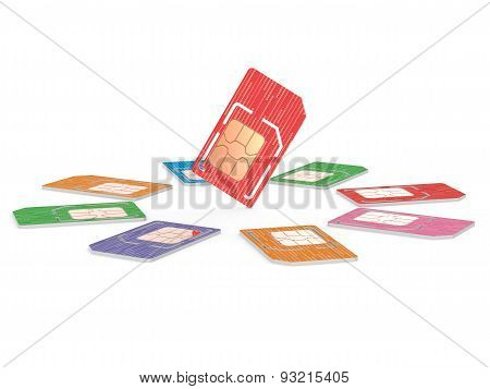 Circle of Sim Cards Illustration, Dual Sized Verstion