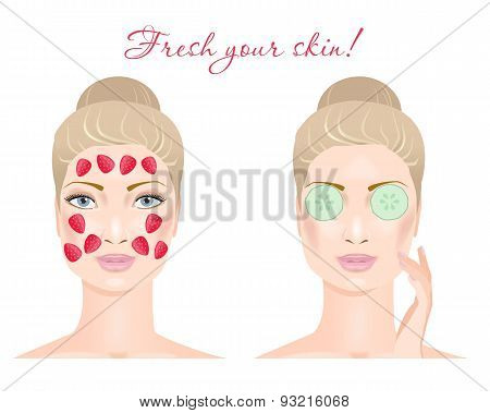 Two girls with a cosmetic mask