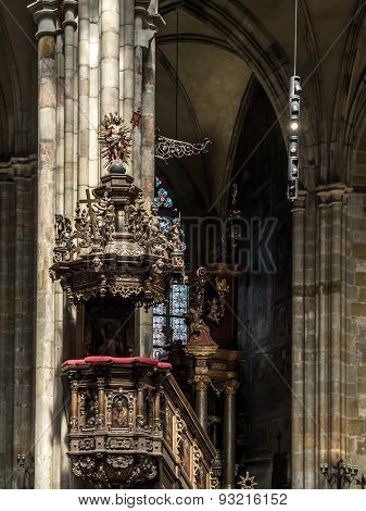 PRAGUE, CZECH REPUBLIC - MAY 2 2015: Ornamental ambo inside historical St Vitus Cathedral, Prague castle, Czech republic