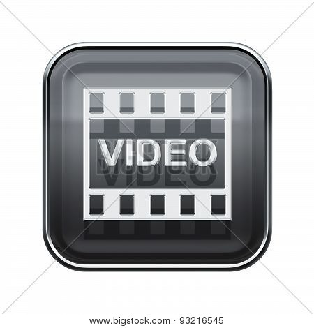 Video Icon Glossy Grey, Isolated On White Background