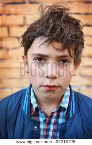 Preteen Handsome Boy Close Up Outdoor Portrait