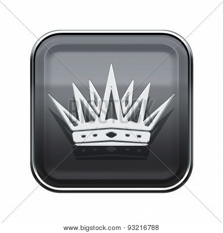 Crown Icon Glossy Grey, Isolated On White Background
