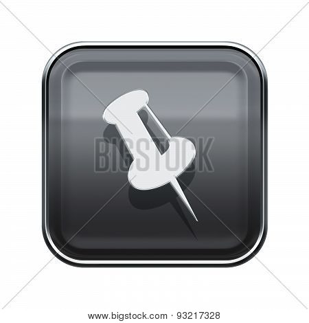 Thumbtack Icon Glossy Grey, Isolated On White Background.