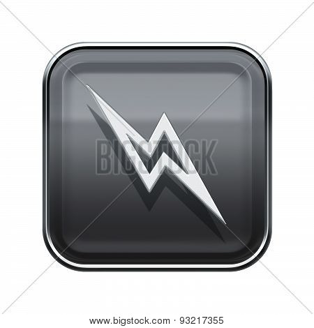 Lightning Icon Glossy Grey, Isolated On White Background.