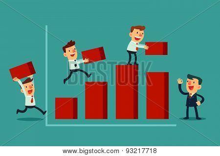 Team Of Businessman Building Bar Chart