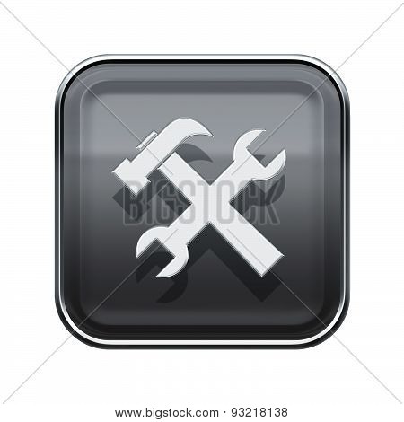 Tools Icon Glossy Grey, Isolated On White Background.