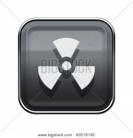 Radioactive Icon Glossy Grey, Isolated On White Background.